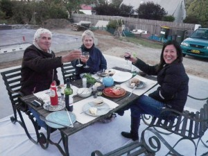 Dec 1, 2013: slab warming party with Jan, Aunt Janie, and Cintia.