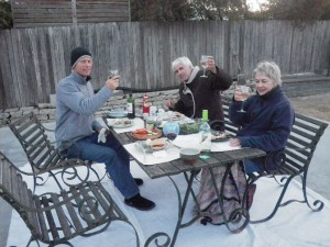Dec 12, 2013: Andy, Jan, and Aunt Janie warming the slab.