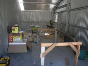 Dec 6, 2013: garage completed... our new workshop.
