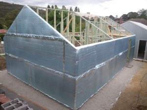 Dec 9, 2013: 8mm reflective insulation thermal break and air barrier installed on granny flat. Back looking NE.