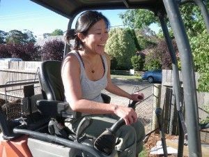 Dec 10, 2013: Cintia trying out the little excavator.