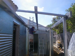 Jan 13, 2014: building the back porch frame