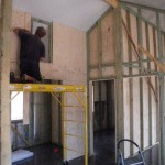 """Feb 11, 2014: beginning to install the """"Ecoply"""" on the interior walls starting with one side of the walls that require sound insulation."""