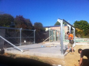 Dec 3, 2013: standing frames for garage (steel) and flat (timber)