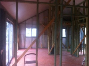 Dec 24, 2014: Interior with floor protected looking towards the kitchen (E)