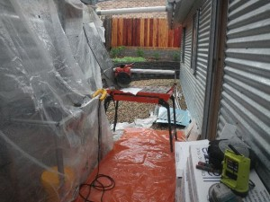 Mar 24, 2014: rainy day tile cutting area