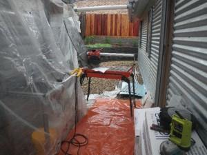 Mar 24, 2014: rainy day tile cutting area