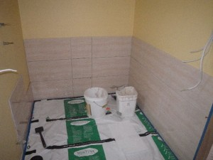 Mar 24, 2014: tiling the barthroom walls