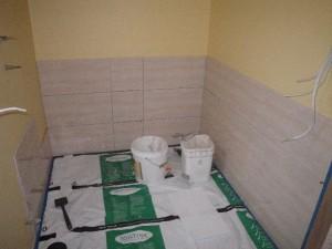Mar 24, 2014: tiling the barthroom walls