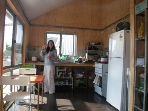 Apr 18, 2014: Cintia setting up our temporary kitchen.
