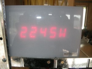 Apr 22, 2014: Earth day marks start of on year of monitoring. Wattson meter showing PV production of 2.245kW
