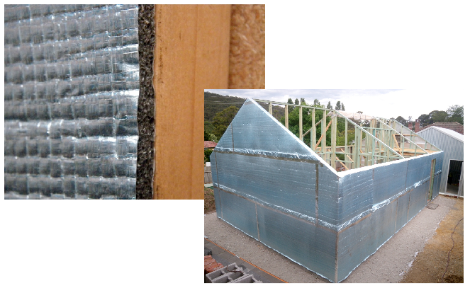Exterior reflective insulation wraps the outside of the Greeny Flat