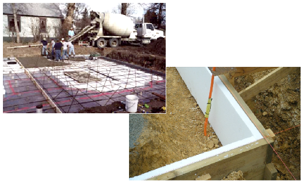 Insulation under and around the edge of floor slabs in other projects.