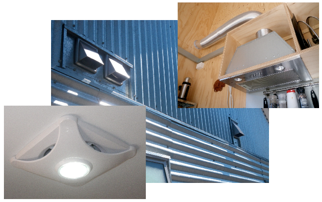 Exhaust fans in the kitchen and bathroom vent stale, humid air to the outside of the Greeny Flat.