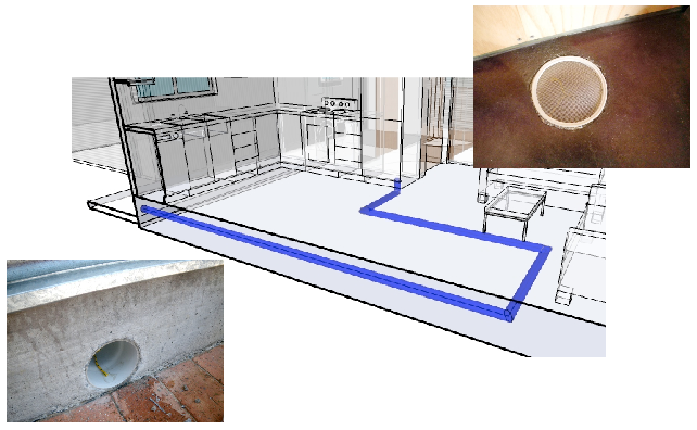 A fresh air intake pipe runs underneath the Greeny Flat floor and comes up under the fridge.