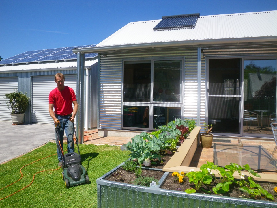 Mowing the grass is very satisfying knowing that the power is coming straight from our solar panels. It's quiet too!