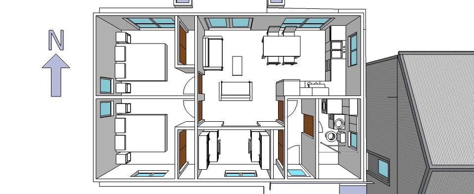 The room layout of the Greeny Flat.