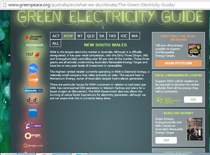 Greenpeace's Green  Electricity Guide ranks the available suppliers on the LHS based on their Renewable Energy Credentials