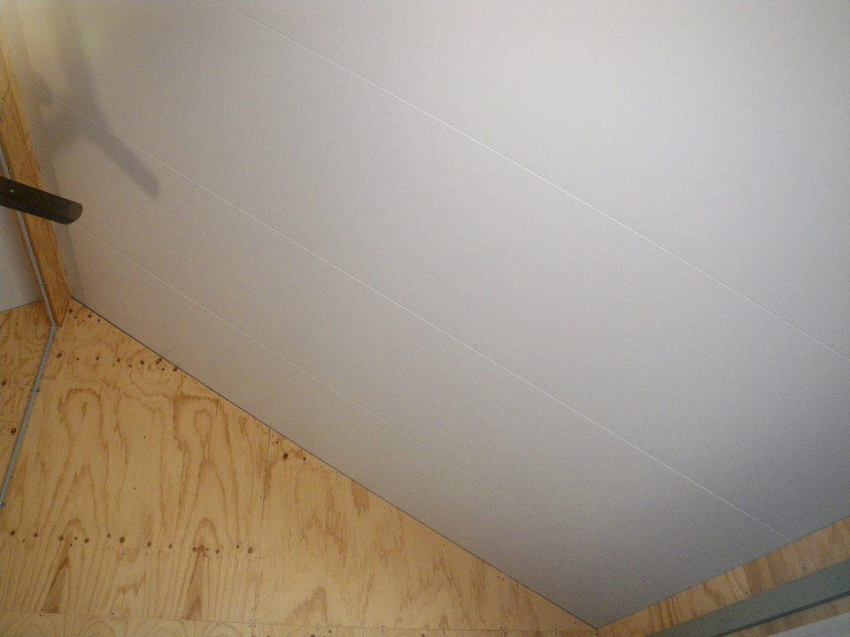 Photo showing the finished ceiling with the white metal underside of the SIPS panels and joints where the panels join.