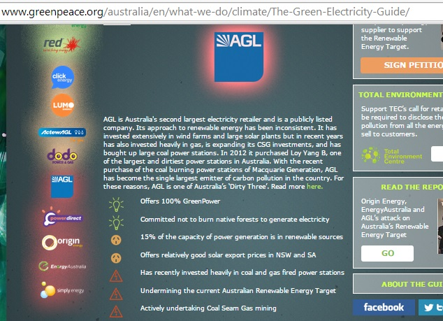 Greenpeace's scathing assessment of AGL.