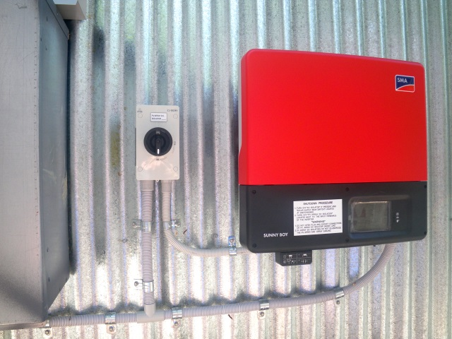 Our SMA 'Sunny Boy' inverter mounted next to the electrical panel on the back of the garage