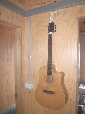 Picture rail used to hang a guitar.