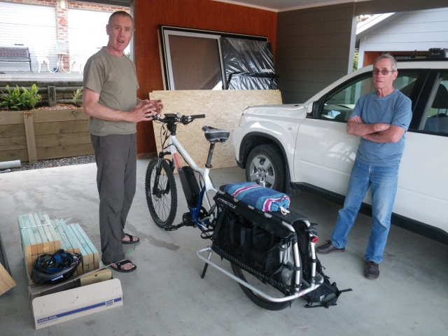 Glenn Robinson's converted electric bike with cargo carrier