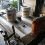 Glueing styrofoam insulation to back of panel
