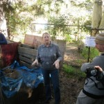 Judith explaining how they make compost in 18 days