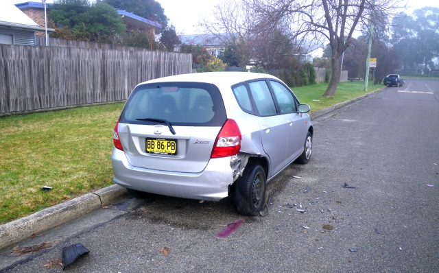 Cintia's car - hit by a ute that didn't get far