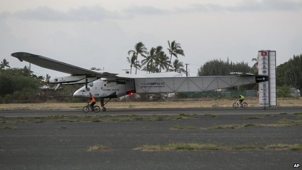 The Solar Impulse lands in Hawaii (with help from a couple of bicycles) after five days and nights in the air.