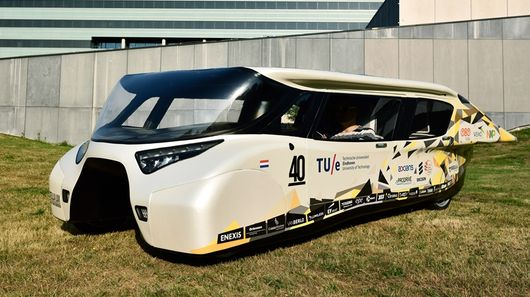 The Dutch Eindhoven University of Technology's Stella-Lux 'Energy Positive Family Car' is capable of making more energy than is required to run it and will be here in Australia in October for the World Solar Challenge