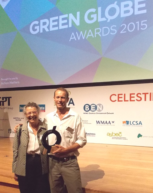 Andy and Jane with the award trophy.