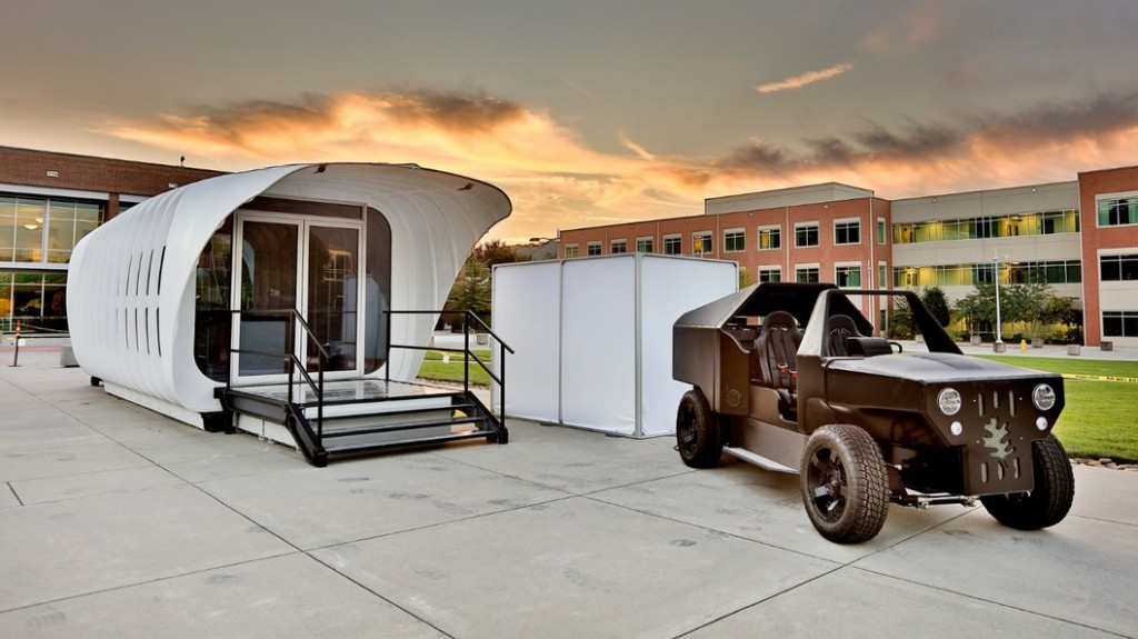 Carbon-fibre, 3D-printed, power-sharing, vacuum-insulated house and car.