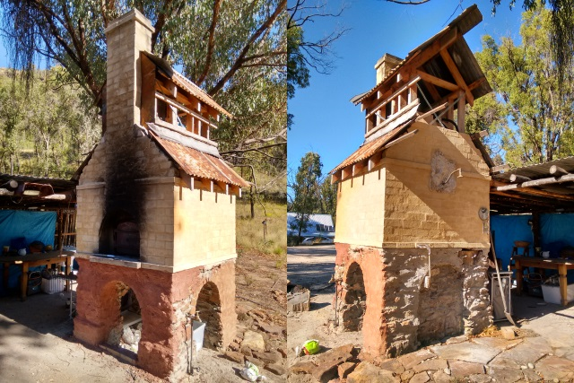 Front and back views of the hand-made wood-fired pizza oven, water heating tower and shower structure.