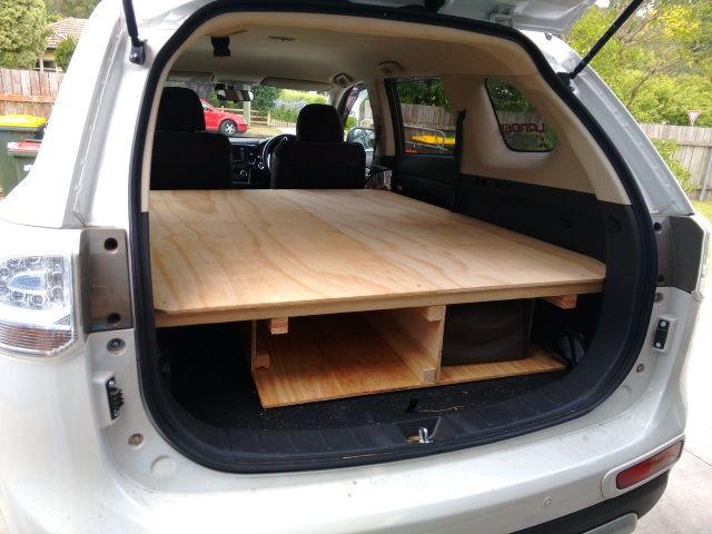 Sleeping platform set up in the back of our Mitsubishi Outlander PHEV