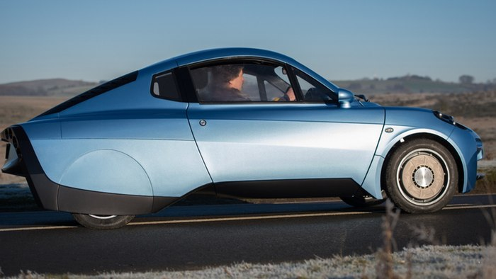 The Rasa hydrogen fuel cell electric vehicle during road testing.