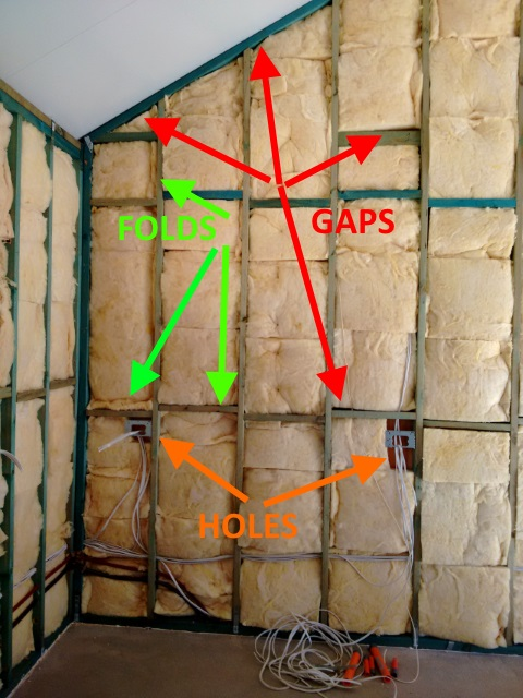 Gaps, folds and holes in the insulation.