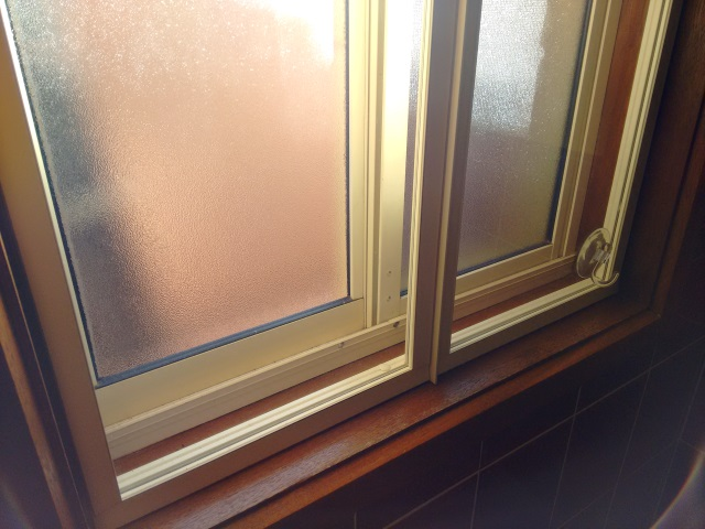 Magnetite 'double-glazing' retrofitted to Cate's bathroom window.