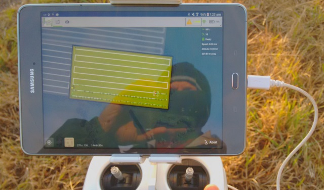 Photo showing the video screen on the drone controller. Note the pre-programmed, zig-zagging flight path with dots at each photo location.