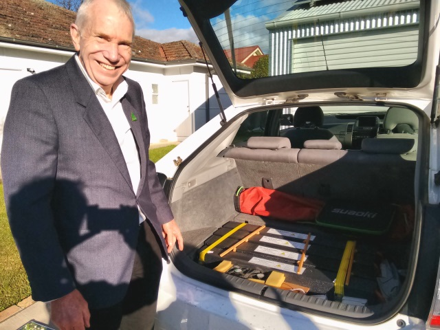 Tom Hunt, Green Party candidate for Whitlam shows me his DIY plug-in Prius conversion.