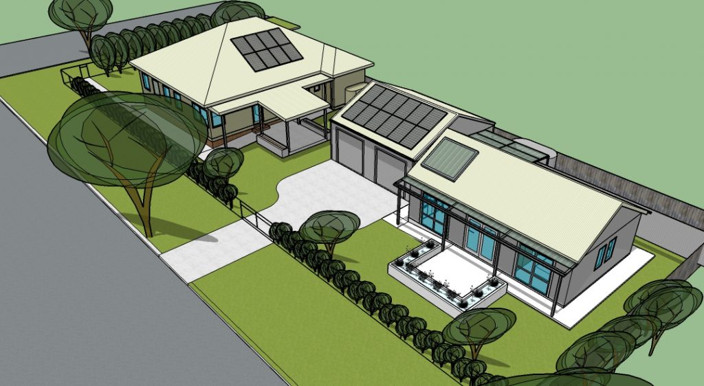 Proposed renovation looking from the NW showing the new porch on the west side and the Greeny Flat to the right.