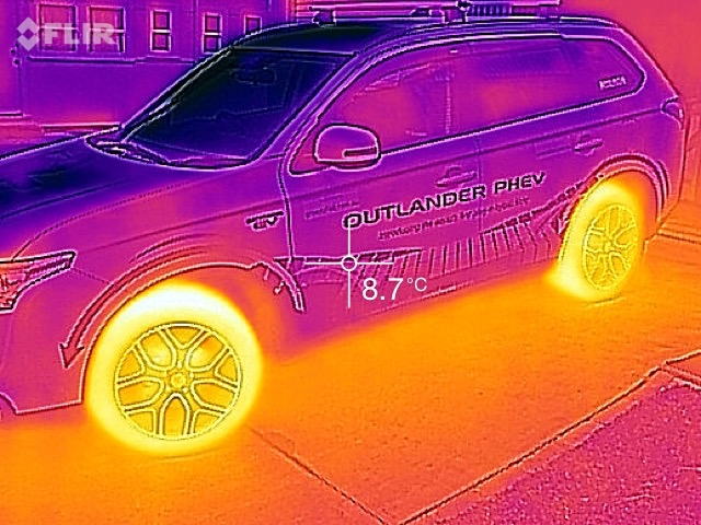 IR image of our electric car after a short trip.