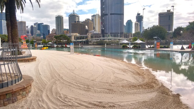Due to murky water and sharks, the river itself is not a good place to swim so they have built a very nice man-made beach on the river's edge. Apparently it gets PACKED on a nice day.