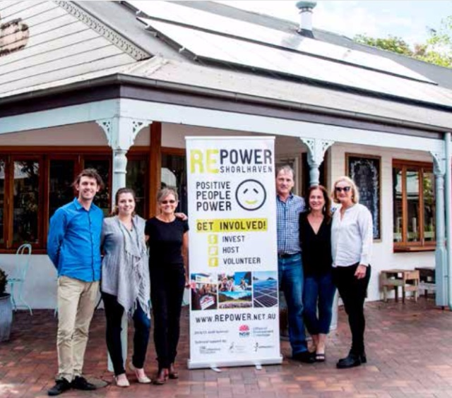 Some of the Repower CREW in front of the community-funded solar system on the Milkwood Bakery in Berry.