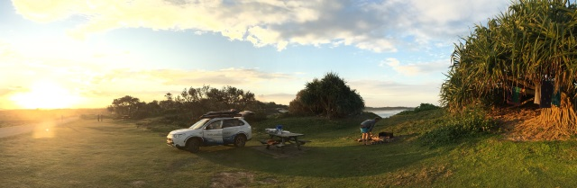 Our PHEV at a remote campsite near Yamba.