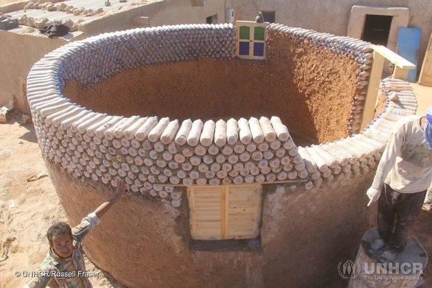 Plastic bottle house in the Sahara