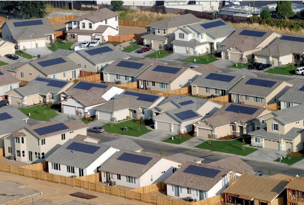 A solar suburb in the states.