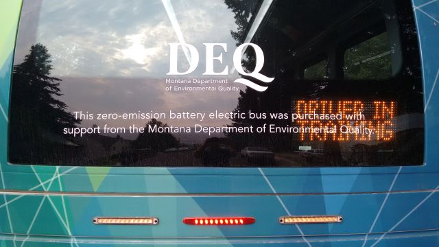 According to the sign on the back of the bus, this is a Zero Emissions vehicle.