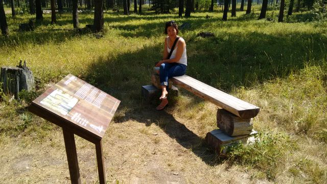 Simple log furniture and rusted steel signs